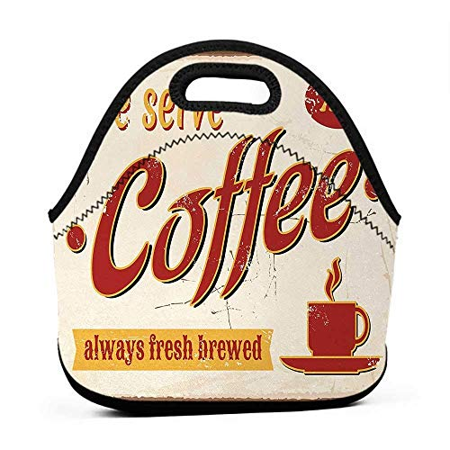 Rugged Lunchbox Retro,Tin y Faded Fresh Brewed Coffee Print from Old Days Fifties Style Art Work,Cream Red Orange,funny lunch bag for men