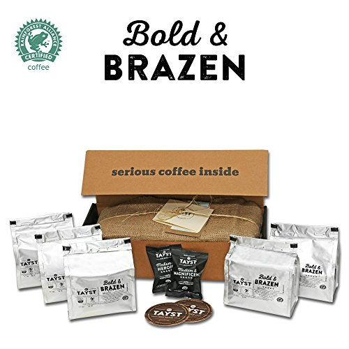 Tayst Dark Roast Coffee Pods | 50 ct. Bold & Brazen | 100% Compostable Keurig K-Cup compatible | Gourmet Coffee in Earth Friendly packaging