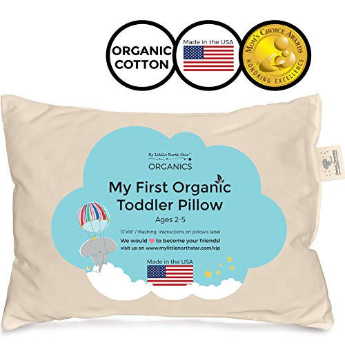 Toddler Pillow - Organic Cotton Made in USA - Washable Unisex Kids Pillow -...
