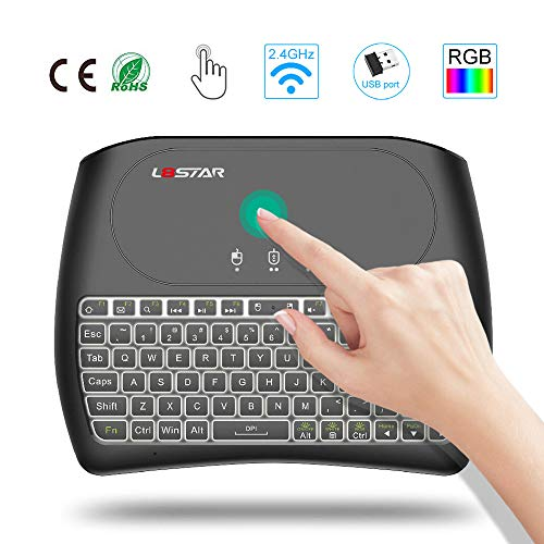 Mini Wireless Touchpad with Keyboard- 2.4Ghz Gaming Keyboard Air Mouse USB Handheld Rechargeable Multimedia Remote Control 7 Colors Keyboard Compatible with Android TV Box Computer