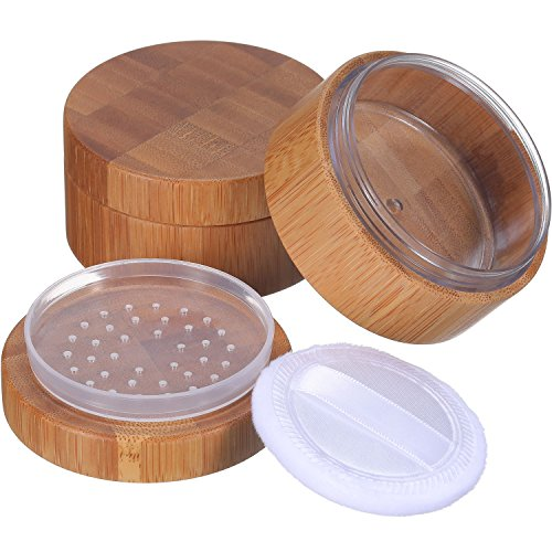 Frienda 2 Pack 30 ml Empty Powder Case Bamboo Cosmetic Make-up Loose Powder Box Case Container Holder with Sifter Lids and Powder Puff by Frienda