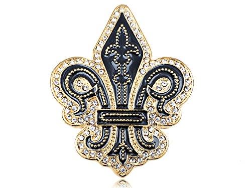 Alilang Golden Tone Black Gothic Medieval Royal Fleur De Lis Lily Brooch Pin