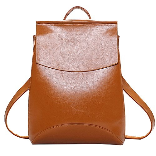 Juilletru Brown Women's Backpack Purse Pu Leather Fashion Bags Casual Shoulder Bag School Daypack