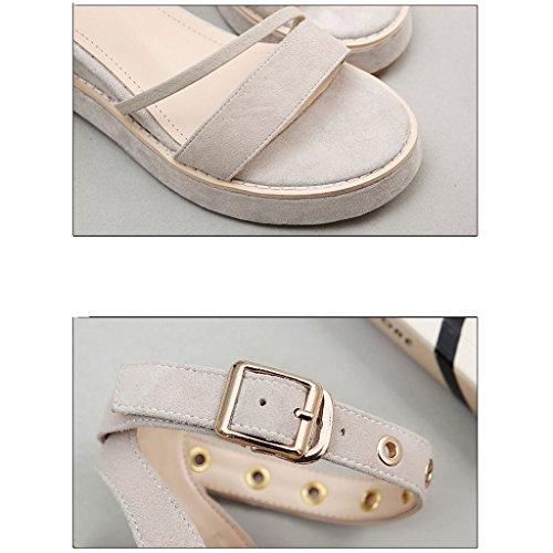 la del cuña Albaricoque de de ocasionales verano Sandalias pie sandals versión del zapatos dedo coreana romanos femenino playa ZPqfxw4TE