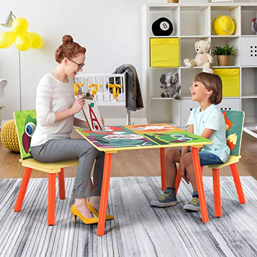 Costzon Kids Table and 2 Chairs Set, Wooden Table Furniture for Children Toddler, Creation Inspiring Activity Table Desk Sets for Playing Studying in Bedroom, Playroom, Kindergarten