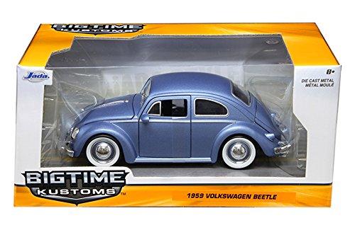1959 Volkswagen Beetle Matt Blue with Baby Moon Wheels 1/24 by Jada 97420 by Volkswagen