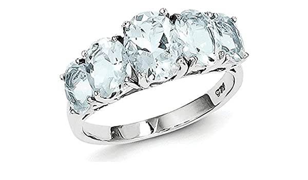 0.65ctw Genuine Aquamarine Pear /& Solid .925 Sterling Silver Rings