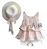 7 yr old girl clothes - LOliSWan 3PCS Little Girls Summer Outfits Clothes Floral Vest T-Shirt Tops +Shorts Pants+Sun Hat Set (Pink, 6-7 Yesrs)