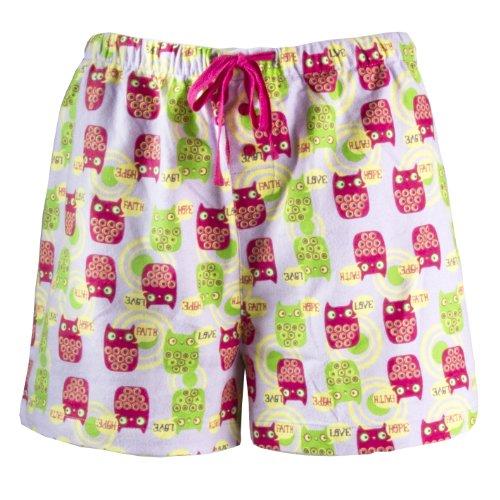 Leisureland Women's Cotton Pajama Flannel Boxer Shorts Hope Faith Love Owl Medium