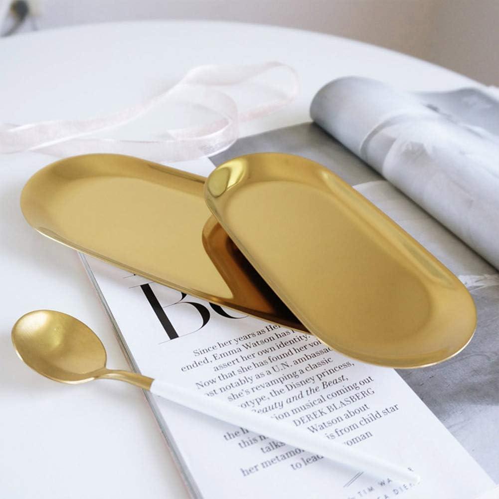 Taille L dor/é Acier inoxydable cosm/étiques de rangement bijoux plateau organiseur /à bijoux Plat pour le maquillage Parfum ovale,