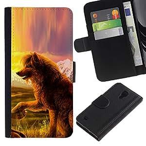 KingStore / Leather Etui en cuir / Samsung Galaxy S4 IV I9500 / Perro del lobo del cuento de hadas del arte de la naturaleza Campo Vista