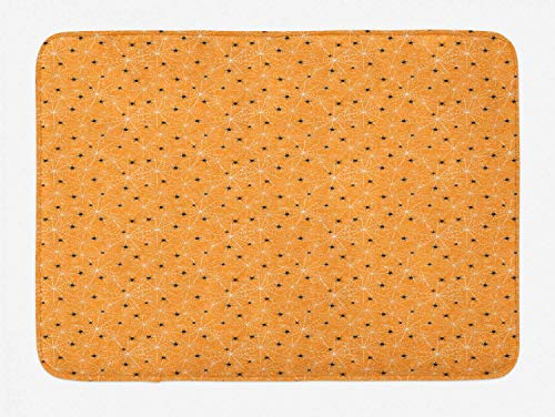 Lohebhuic Cobweb Pattern with Orange Warm Toned Background Halloween Plush Bathroom Decor Mat with Non Slip Backing,46.8