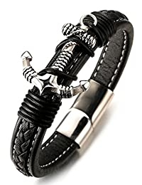 "Halukakah ""JAZZ"" Men's Genuine Leather Bracelet Titanium Magentic Clasp 8.46""(21.5cm) with FREE Giftbox"