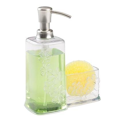 MDesign Blooms Kitchen Sink Soap Dispenser Pump And Sponge Scouring Pad  Holder   Clear