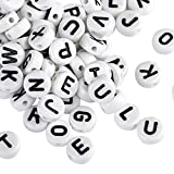 Naler 1200pcs Alphabet Letter Beads, 6mm Round A-Z Assorted Beads Spacer Bead for Jewelry Making Finding Art Craft DIY Decoration
