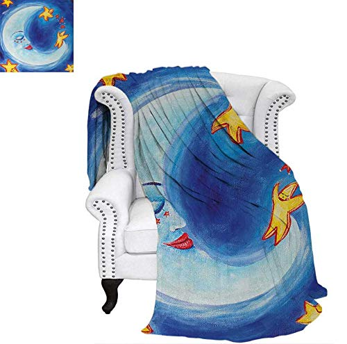 Throw Blanket Vibrant Happy Dancing Stars and Sleepy Moon with Facial Expressions Velvet Plush Throw Blanket 62