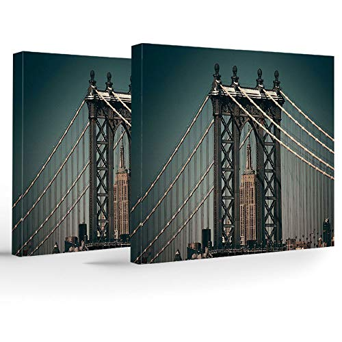 2 Piece Canvas Wall Art,Scenery Decor,for Home Bathroom Living Room Bedroom,City Lights Landscape View with Bridge Empire State Building Skyscrapes Picture]()