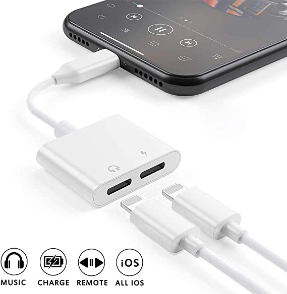 Dual Lightning Splitter Cable Converter Compatible for iPhone 11 XS XR X 7 7P 8 8P Pure White Tiny Small Apple MFi Certified Lightning Splitter Audio Charge Headphone Adapter