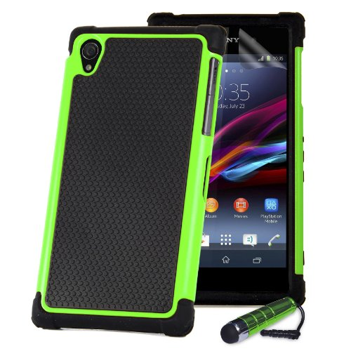 32nd Shock proof defender heavy duty tough case cover for Sony Xperia Z (L36h / L36i / C6603) + screen protector, cleaning cloth and touch stylus - Green