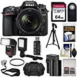 Nikon D7500 Wi-Fi 4K Digital SLR Camera & 18-140mm VR DX Lens with 64GB Card + Battery & Charger + Case + Tripod + Flash + LED Video Light + Strap Kit