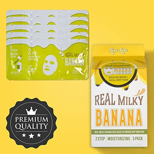 LOVLUV Real Milky Banana Face Masks, K Beauty Moisturizing and Hydrating Facial Sheet Set, Two-Step Skin Care Essence [5 Pack]