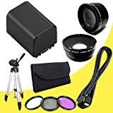 BP-819 Lithium Ion Replacement Battery + 43mm 3 Piece Filter Kit + Wide Angle Lens + 2x Telephoto Lens + Mini HDMI Cable + Full Size Tripod for Canon Vixia HFM40 HFM41 HFM400 HV30 Digital Camcorders DavisMAX BP819 Accessory Bundle