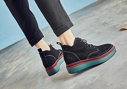 Martin botas nuevas botas de cuero grueso dentro de las botas altas Black