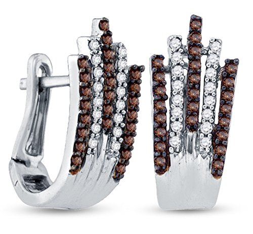 925 Sterling Silver Shape Hoop Channel Set Chocolate Brown & White Diamond Earrings (1/2 cttw.) by Sonia Jewels
