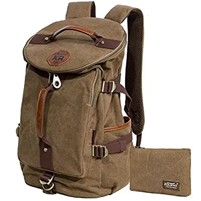 KAUKKO Canvas Backpack Laptop Daypack Hiking Travel Shoulder Bag Duffel Bags