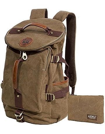 Kaukko Canvas Leather Backpack Big Schoolbag Traveling Hiking Rucksack 92524b3bbd