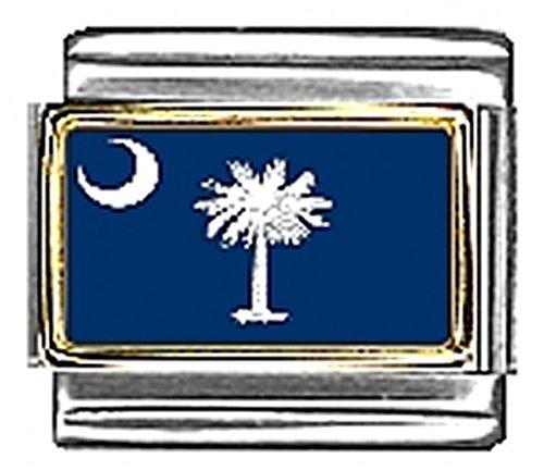 State of South Carolina Photo Flag Italian Charm Bracelet Jewelry Link 9mm