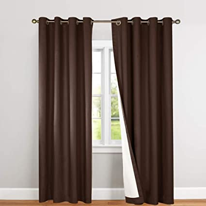 Amazon.com: jinchan Blackout Thermal Curtains 84 Inch, Lined Energy ...