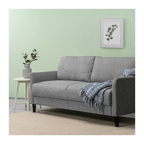 Zinus Jackie Classic Upholstered 71 Inch Sofa / Living Room Couch, Soft Grey - Easily assembles with a friend, no tools needed, in under 20 minutes Stress-free fabrics were chosen to be durable and easy-to-clean 70.9 inches long with classic flared arms - sofas-couches, living-room-furniture, living-room - 51pZKST6E1L. SS570  -