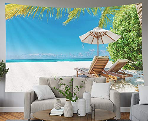 Shorping Blue Tapestries, 80x60Inches Hanging Wall Tapestry for Décor Living Room Dorm Beach Scene Panoramic Tropical Landscape for Background or Wallpaper Two Lounge Chairs with