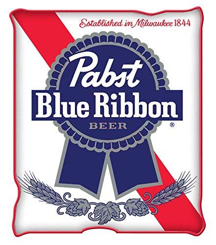 Silver Buffalo Pabst Blue Ribbon Logo Raschel Fleece Throw Blanket]()