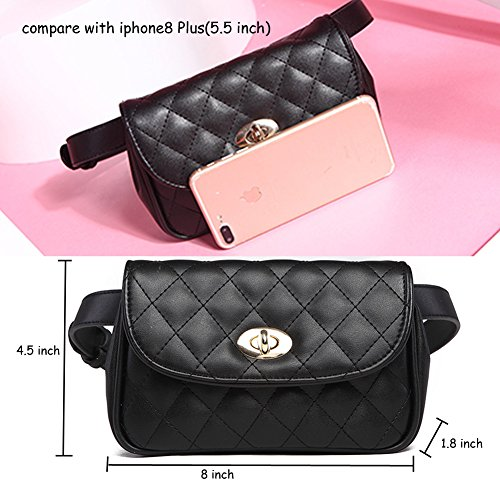 Fanny Pack for Women Fashion Waist Bag PU Quilted Belt Bag Bum Bag Chest Pack with Two Belts (Black) by VAQM (Image #4)