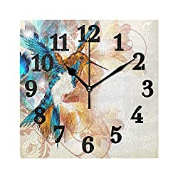 Abbylife Hummingbird Bird Square Wall Clock, Silent Non-Ticking Easy to Read Decorative Battery Operated Wall Clock Art Living Room Home Office School 10.23x10.23x 0.2