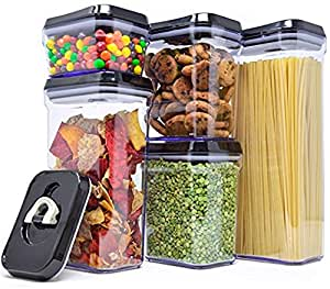 Royal Air-Tight Food Storage Container Set - 5-Piece Set - Durable Plastic - BPA Free - Clear Plastic with Black Lids