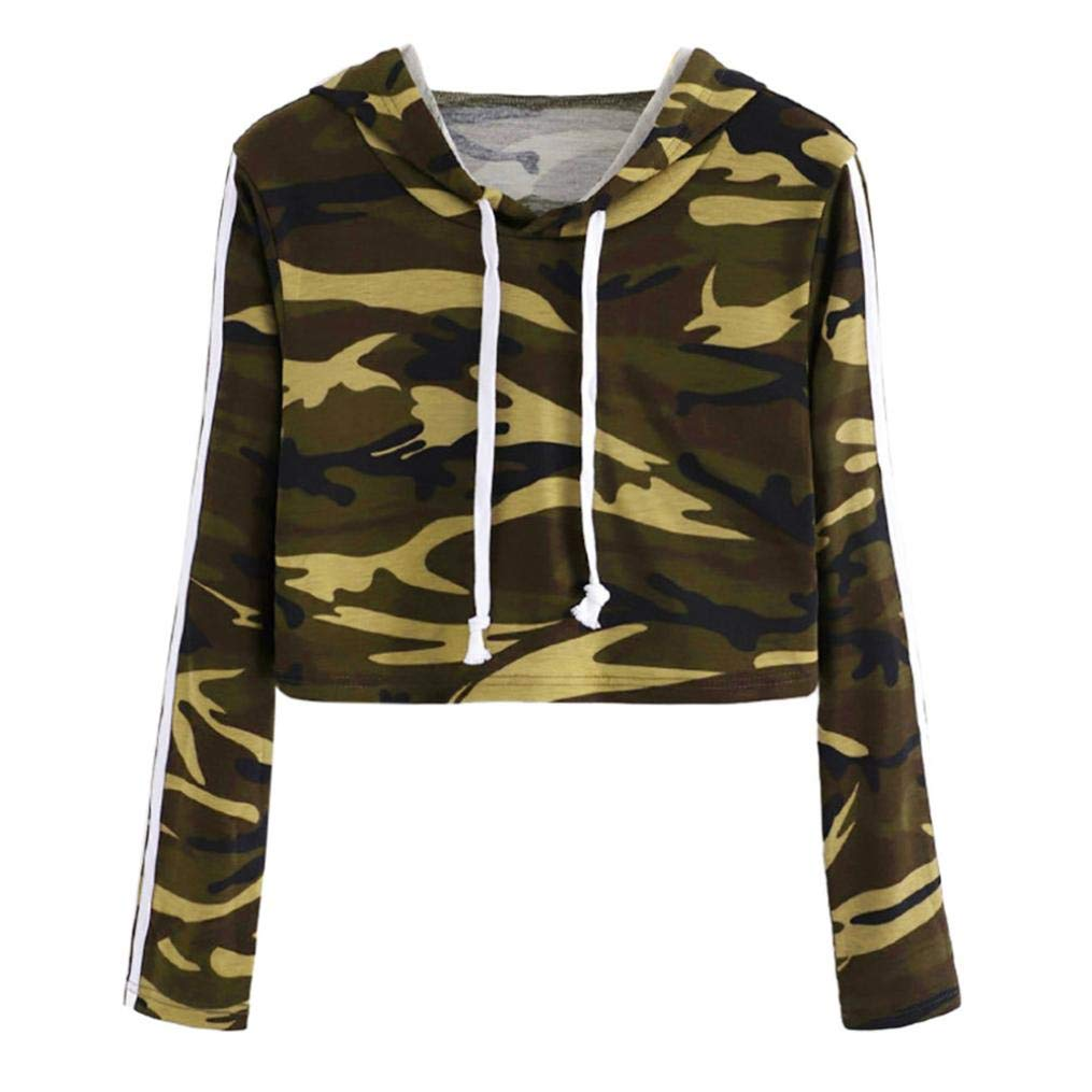 Cropped Hoodie, Womens Teen Girls Fashion Camouflage Sweatshirt Long Sleeve Short Hooded Pullover Tops Challyhope