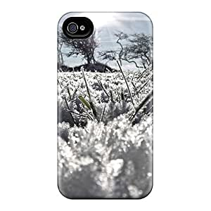Awesome Nature Plants Frozen Grass Flip Case With Fashion Design For Iphone 4/4s