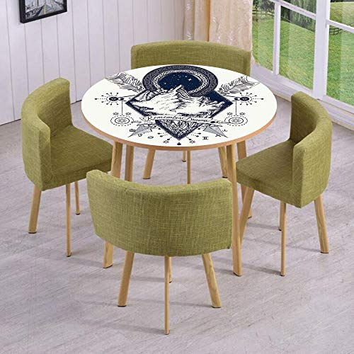 Round Table/Wall/Floor Decal Strikers,Removable,Mountains in Boho Tattoo Style with Crossed Arrows and Astrological Symbols Decorative,for Living Room,Kitchens,Office Decoration -