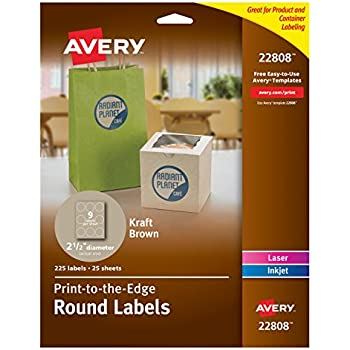 Avery Print-To-The-Edge Kraft Brown Round Labels, 2-1/2 Inch, Pack of 225 (22808)