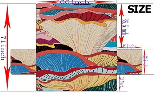 """WDDHOME Beautiful Graphic Pattern Of Colorful Mushrooms Sh Slipcovers For Wingback Chairs Comfortable Sofa Cover Out Sofa Cover 66""""(168cm) For 3 Seat Machine Wash Arm Chair Cover"""