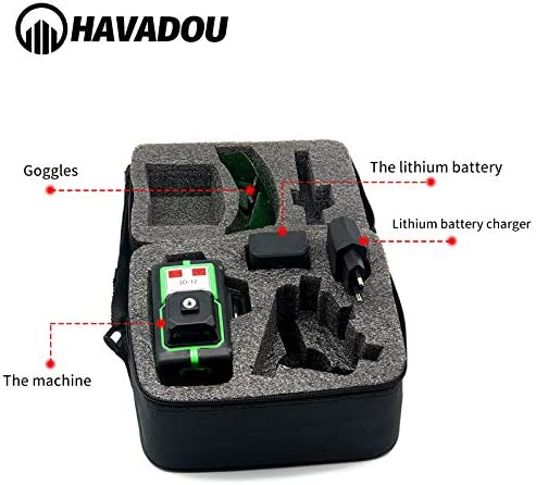 HAVADOU 3D 12 Line 360/°Green Laser Level Rotary Self Leveling 3D Laser Level Cross-Line Laser 12 Lines 3D Laser Level Self-Leveling Alignment Multi Line Laser Tool