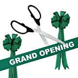 Grand Opening Kit - 25'' Black/Silver Ceremonial Ribbon Cutting Scissors with 5 Yards of 6'' Green Grand Opening Ribbon and 2 Green Bows