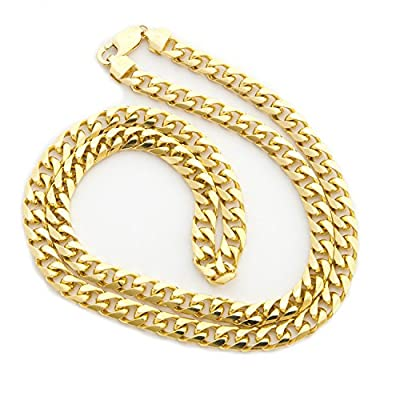 "Solid 14k Yellow Gold 6.5mm Heavy Miami Cuban Link Chain Necklace, 22"" 24"" 30"""
