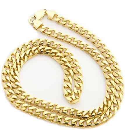 Solid 14k Yellow Gold 6.5mm Heavy Miami Cuban Link Chain Necklace, 22