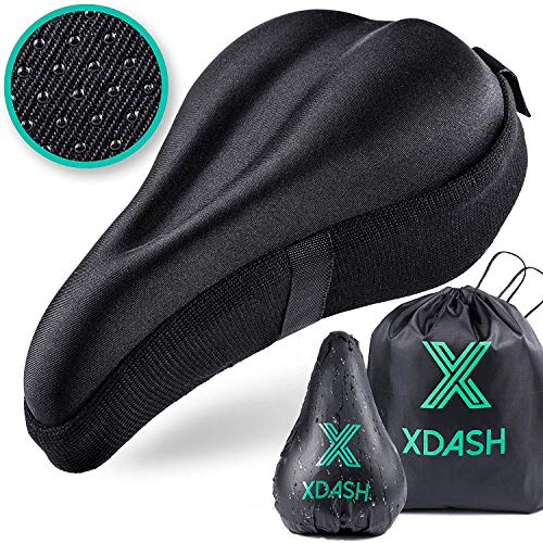 XDASH Premium Gel Bike Seat Cushion Cover Soft Padded Saddle for Indoor and Outdoor Cycling Road or Stationary Bicycle E Book Healthy Life Style Tips
