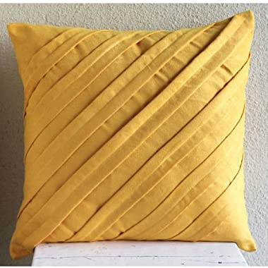 Mustard Yellow Pillows Cover, Textured Pintucks Solid Color Pillow Cases, 16 x16  Throw Pillow Cover, Square Faux Suede Pillows Cover, Contemporary Throw Pillow Covers - Contemporary Mustard Yellow