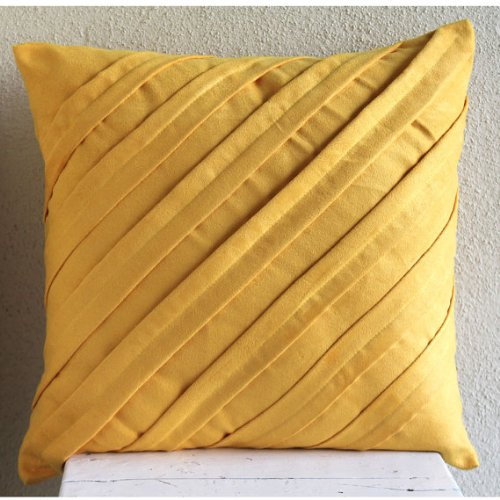 Mustard Yellow Pillows Cover, Textured Pintucks Solid Color Pillow Cases, 14